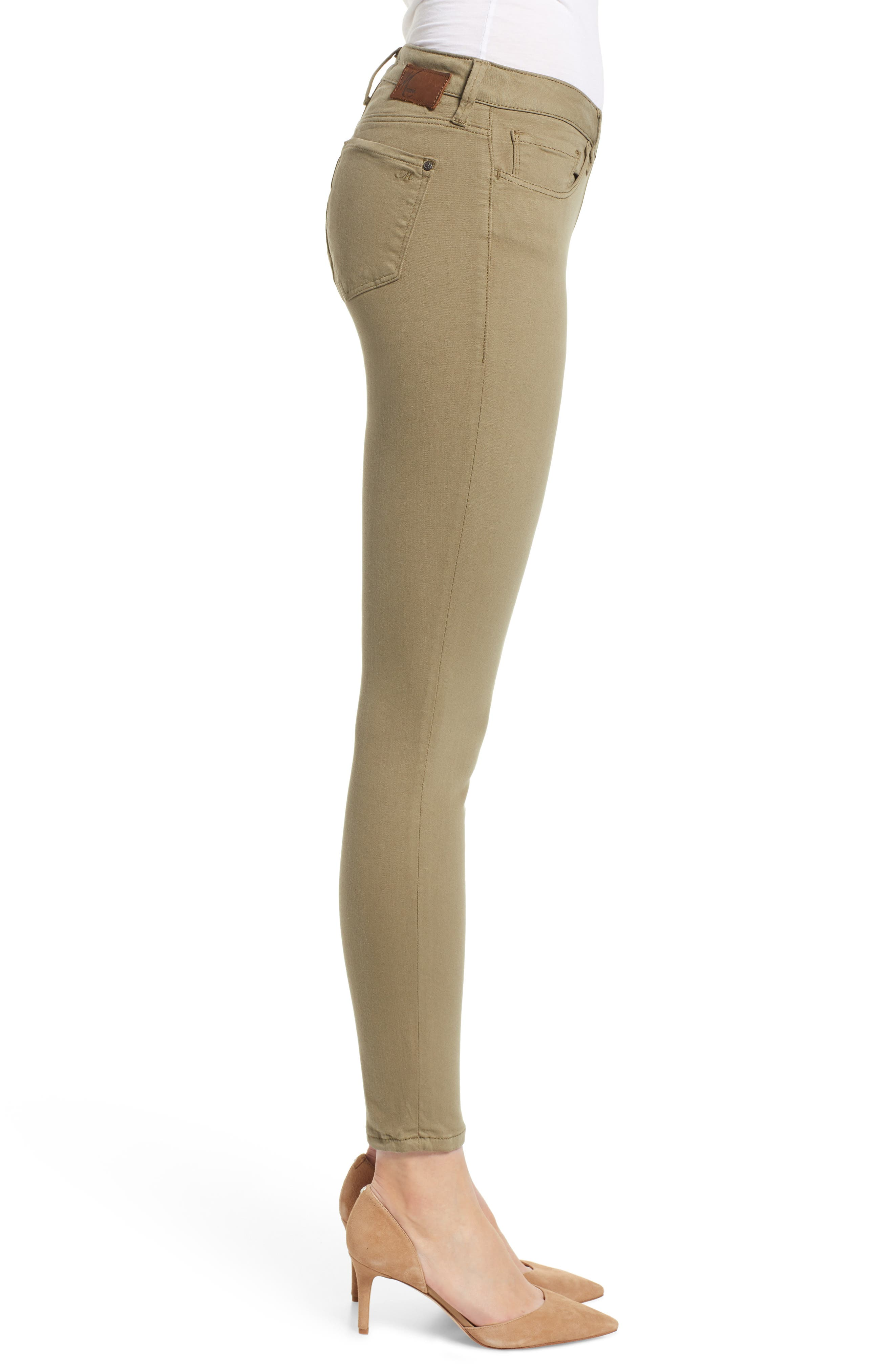 ,                             Adriana Ankle Skinny Fit Pants,                             Alternate thumbnail 4, color,                             DUSKY GREEN TWILL