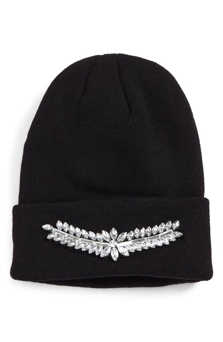 BP. Crystal Embellished Beanie, Main, color, 001