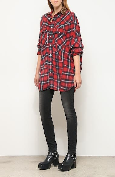 Patchwork Plaid Shirt with Leopard Print Collar, video thumbnail