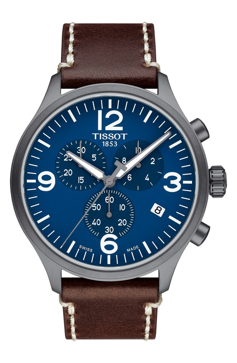 TISSOT Chrono XL Leather Strap Chronograph Watch, 45mm, Main, color, 200