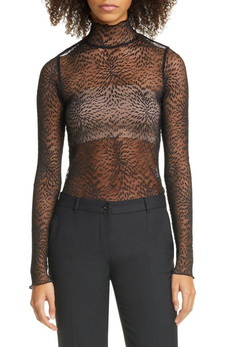 BEAUFILLE Rodin Micropleated Lace Blouse, Main, color, BLACK