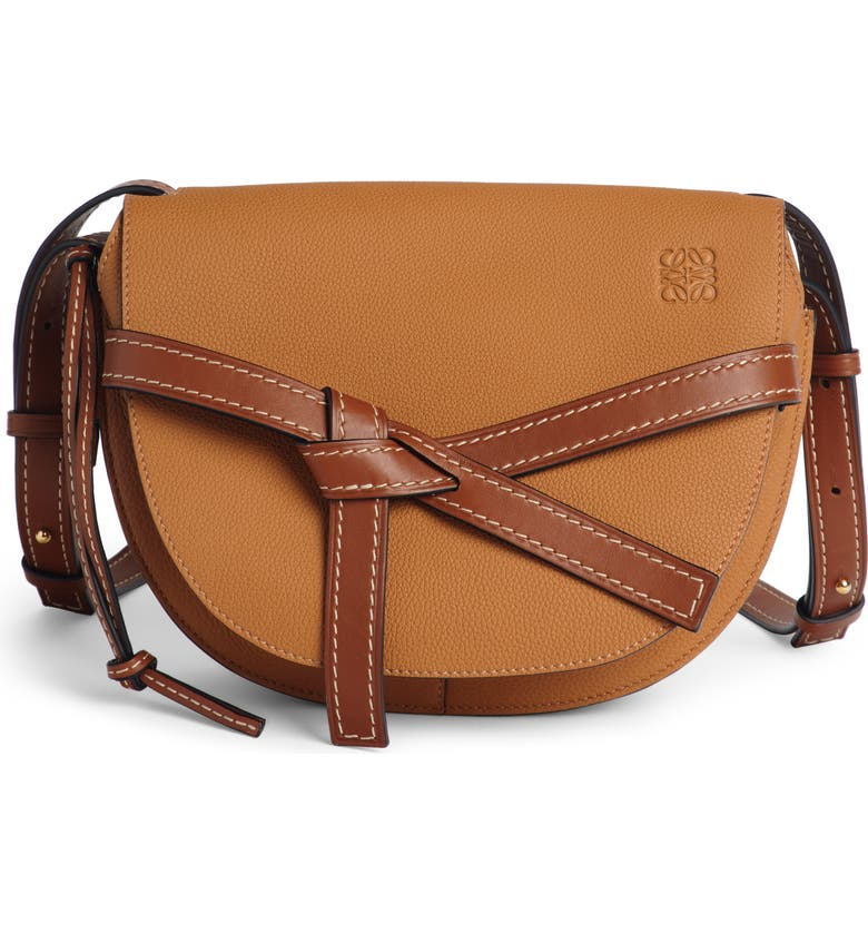LOEWE Gate Small Leather Crossbody Bag, Main, color, LIGHT CARAMEL/ PECAN