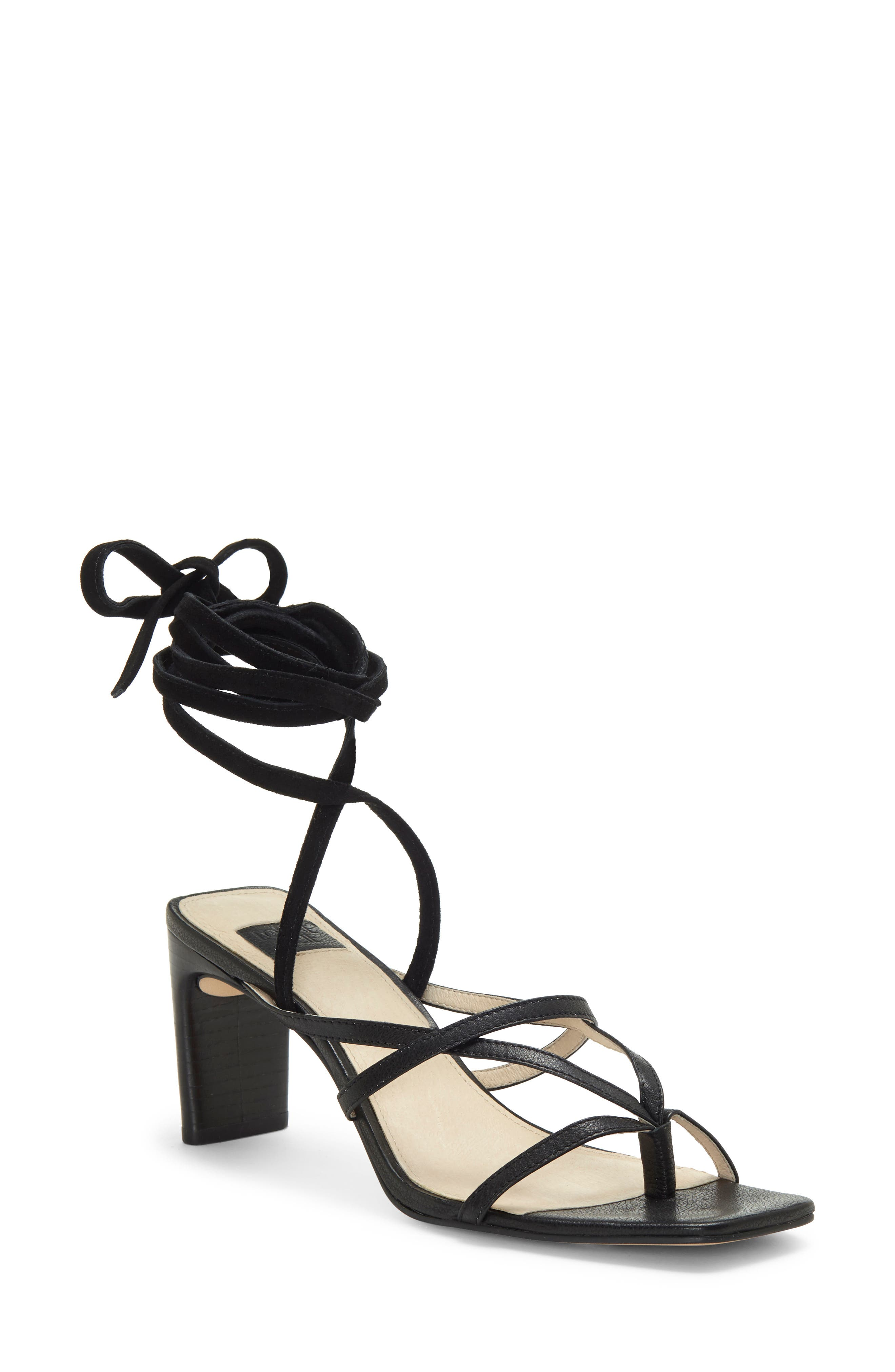 A slim block heel, a squared-off toe and slender straps that wrap the ankle come together on this night out-ready sandal. Style Name: Louise Et Cie Lehana Wraparound Ankle Strap Sandal (Women). Style Number: 6017212. Available in stores.