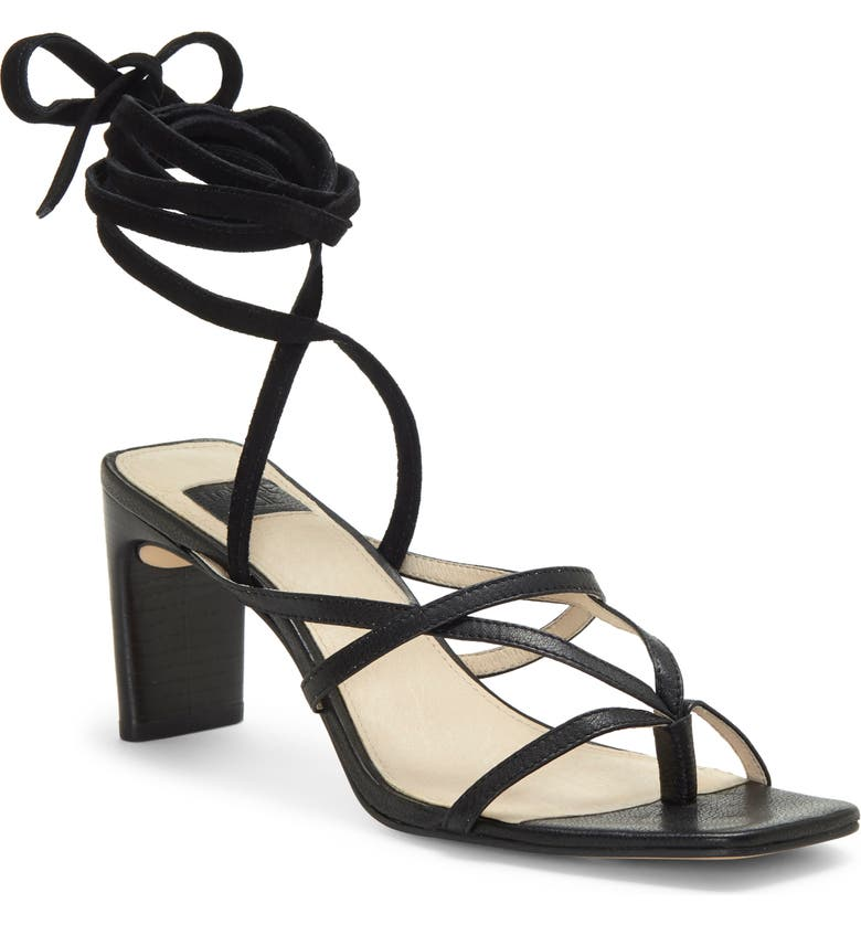 LOUISE ET CIE Lehana Wraparound Ankle Strap Sandal, Main, color, BLACK LEATHER