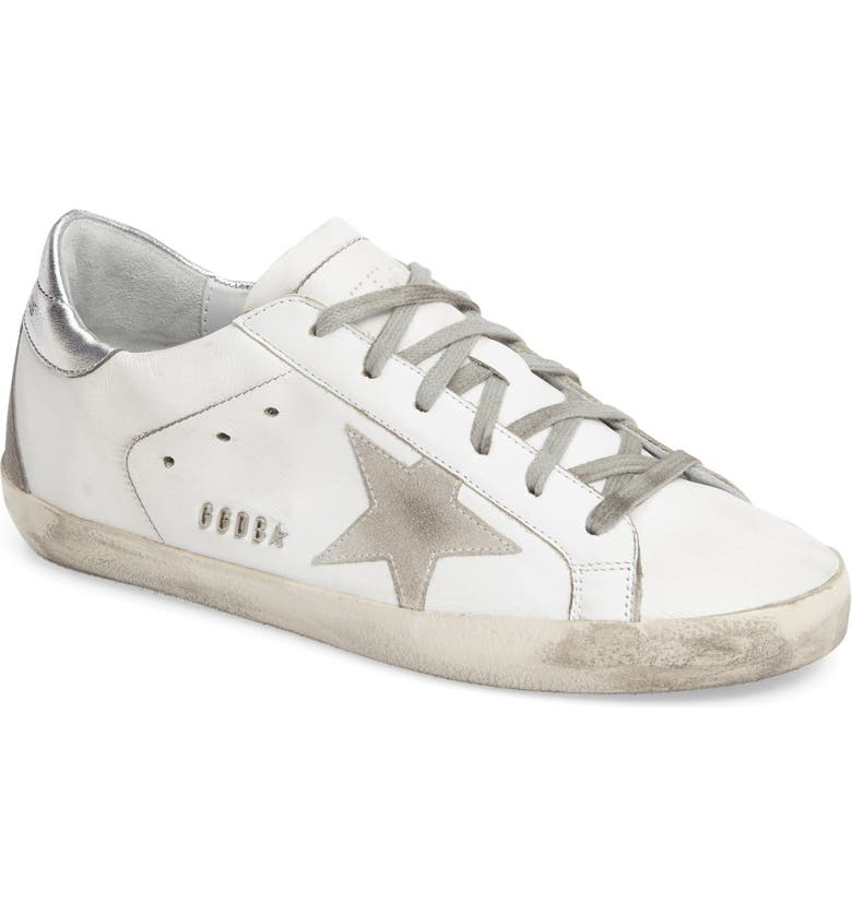 GOLDEN GOOSE Superstar Sneaker, Main, color, WHITE LEATHER/ SILVER