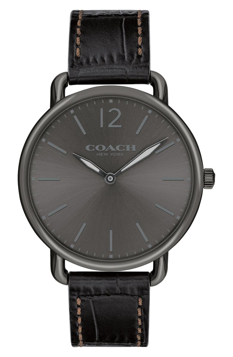 COACH Delancey Leather Strap Watch, 40mm, Main, color, BLACK/ GREY