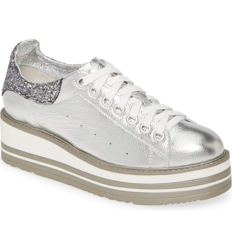 SILENT D Siobhan Wedge Sneaker, Main, color, PALE SILVER-PEWTER LEATHER