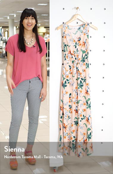 Floral Tie Front Sleeveless Maxi Dress, sales video thumbnail