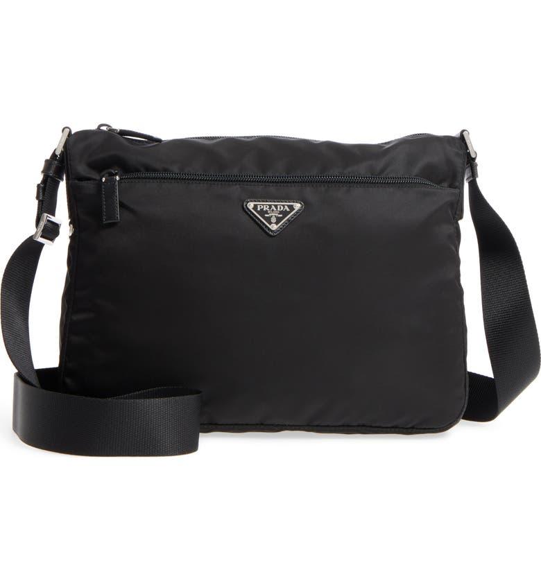PRADA Large Nylon Crossbody Bag, Main, color, 001