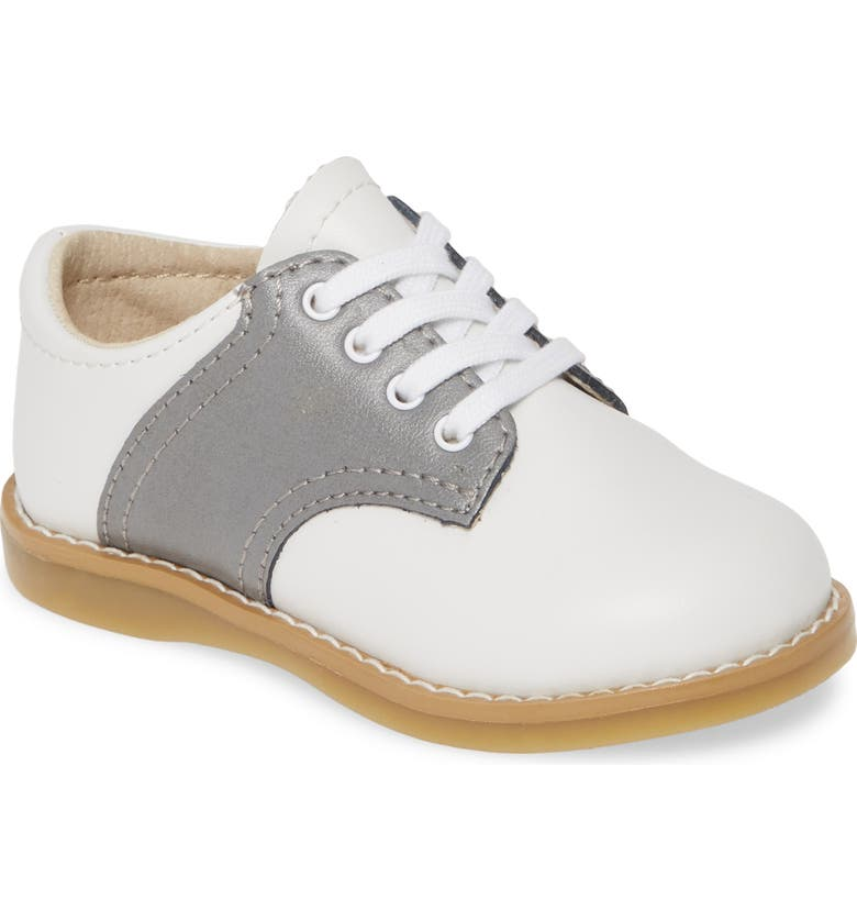 FOOTMATES Cheer Saddle Shoe, Main, color, WHITE/GRAY