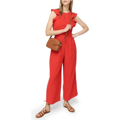 J.crew Sleveless Ruffle Crepe Jumpsuit, Red