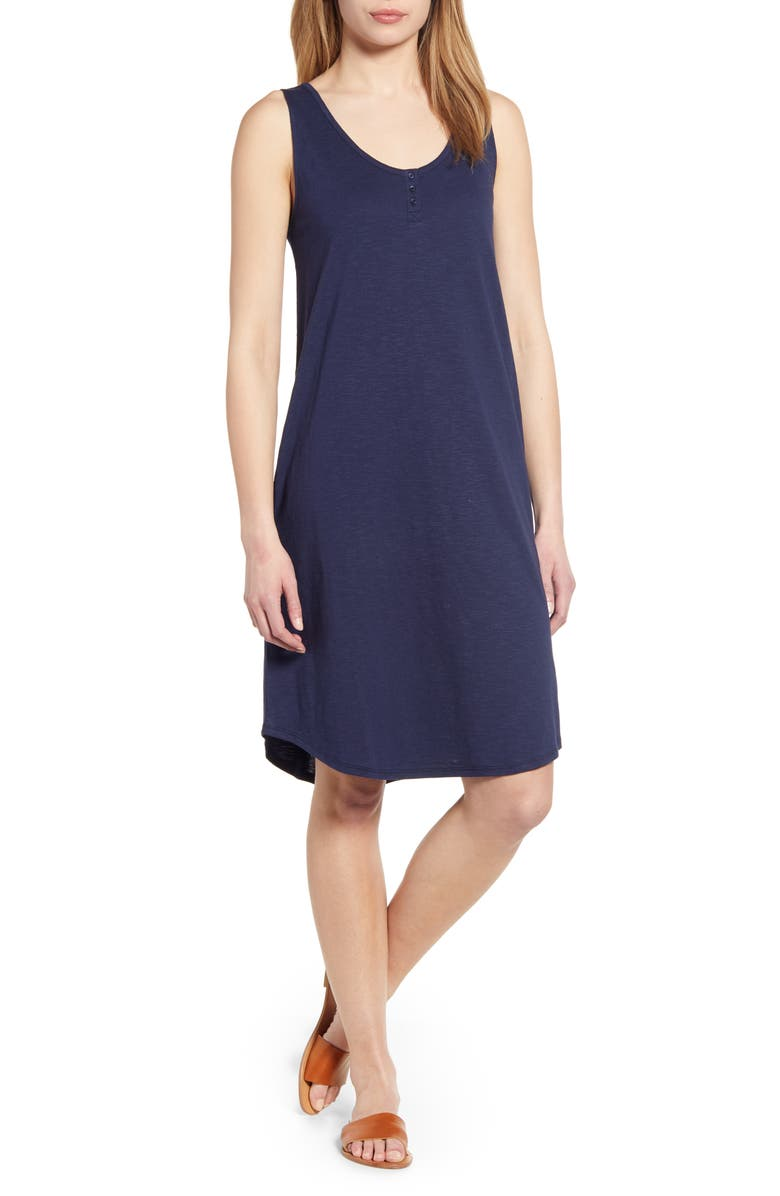 CASLON<SUP>®</SUP> Shirttail Hem Tank Dress, Main, color, NAVY PEACOAT