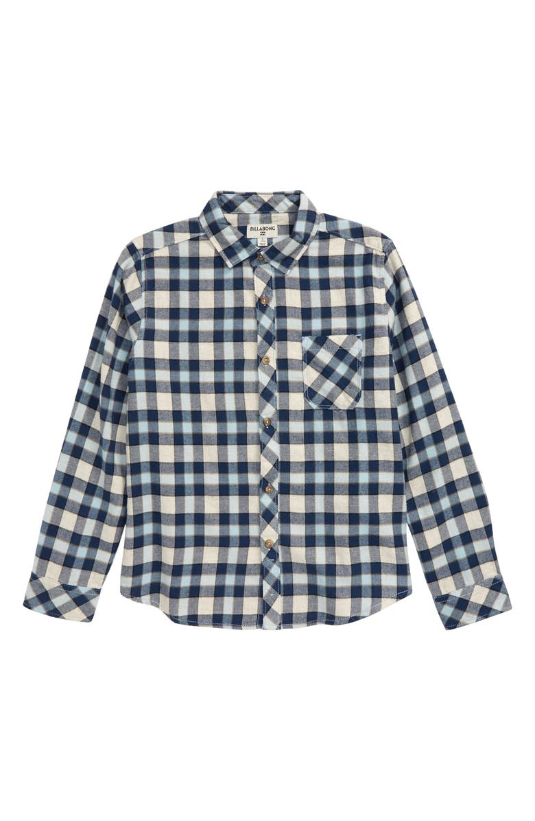 BILLABONG Coastline Plaid Flannel Shirt, Main, color, CHINO