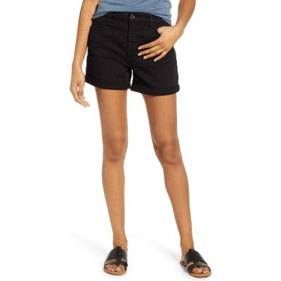 Jen7 By 7 For All Mankind Roll Cuff Denim Shorts, Black