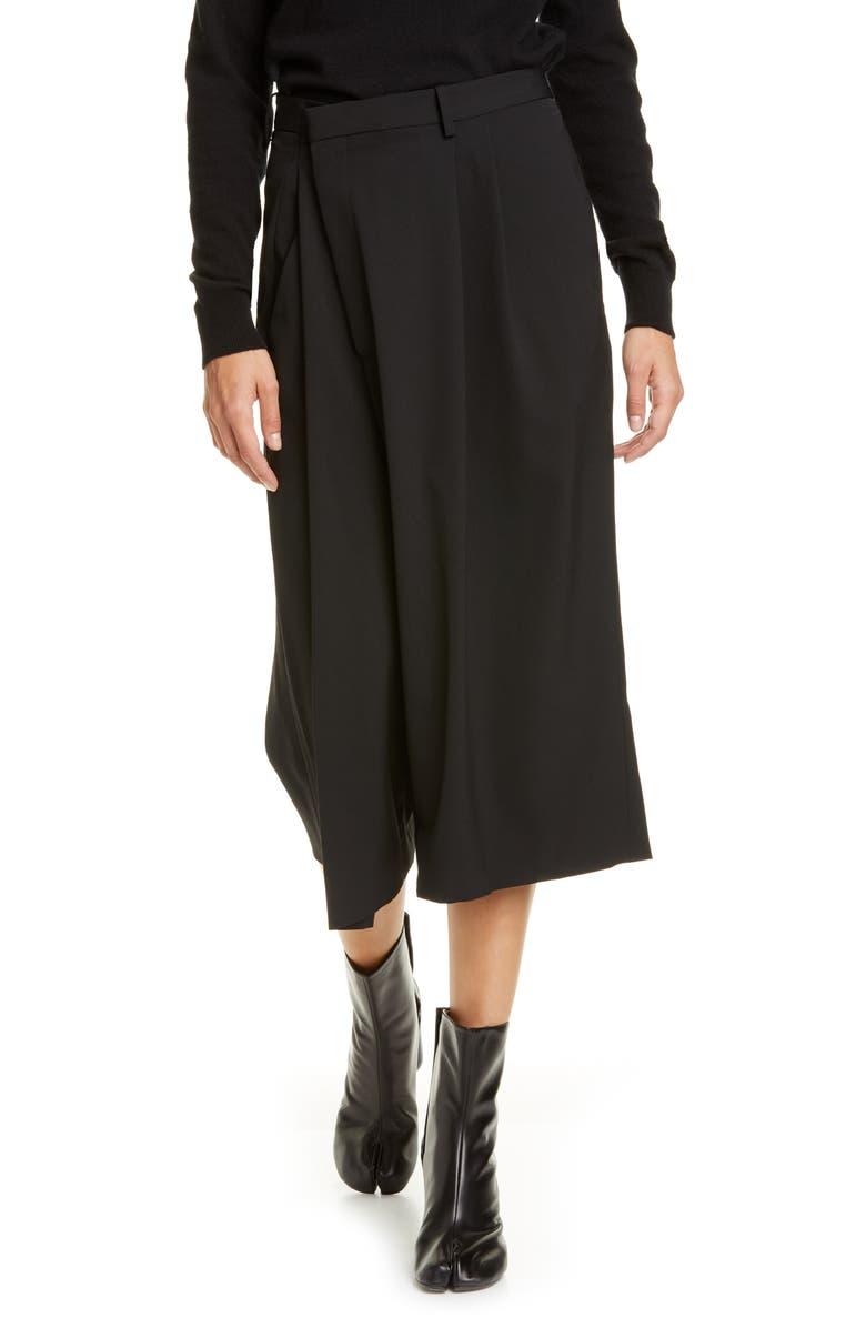 MAISON MARGIELA Crossover Capri Pants, Main, color, BLACK
