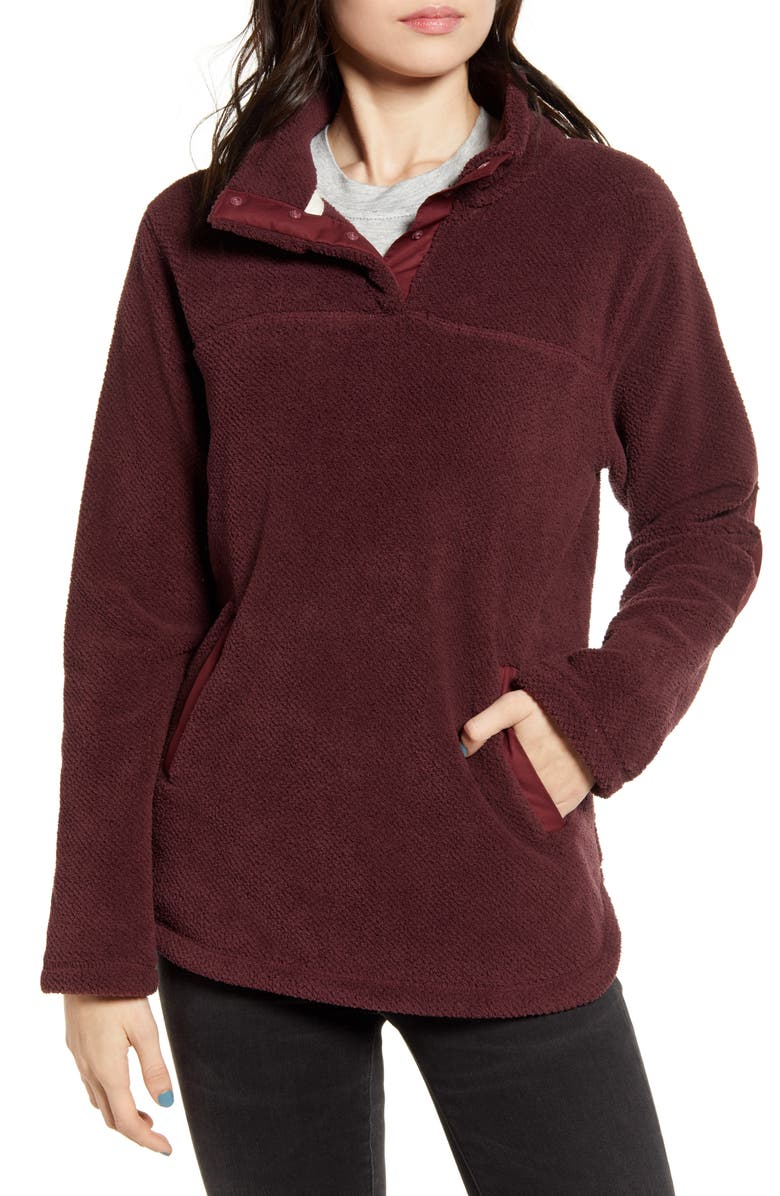 THREAD & SUPPLY Road Trip Fleece Pullover, Main, color, BORDEAUX