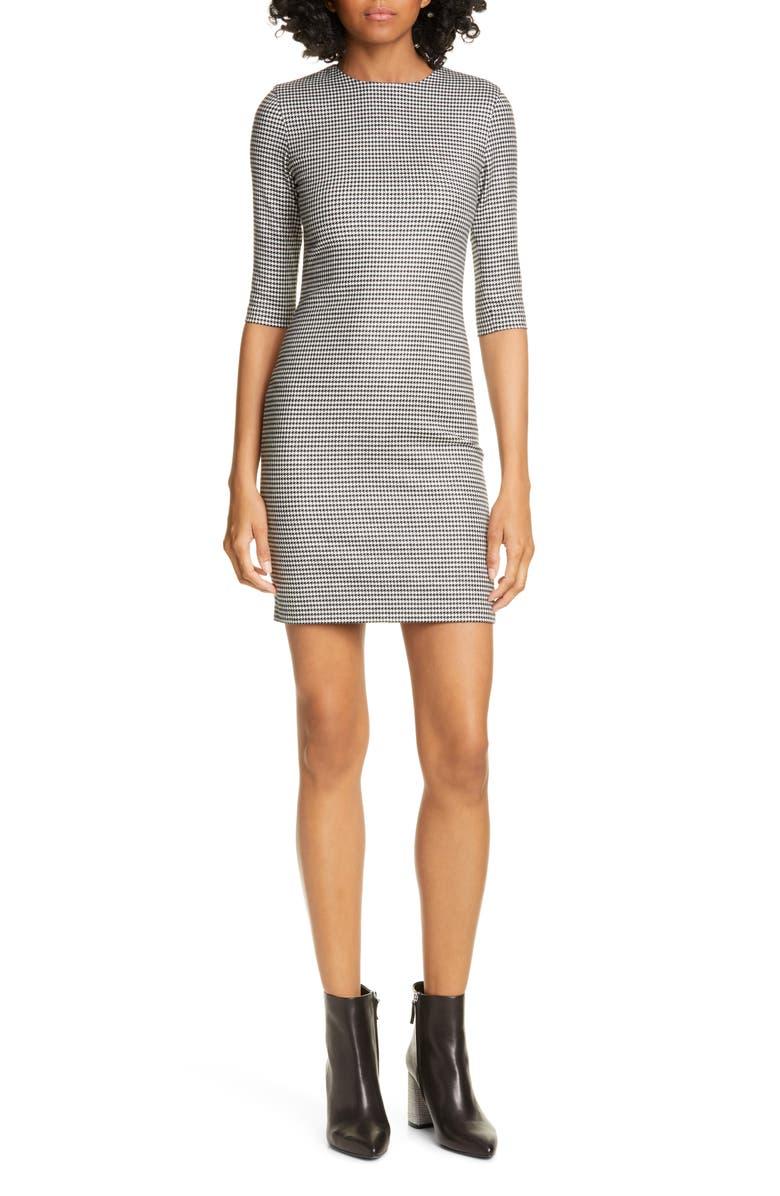 ALICE + OLIVIA Delora Houndstooth Check Body-Con Dress, Main, color, BLACK/ WHITE