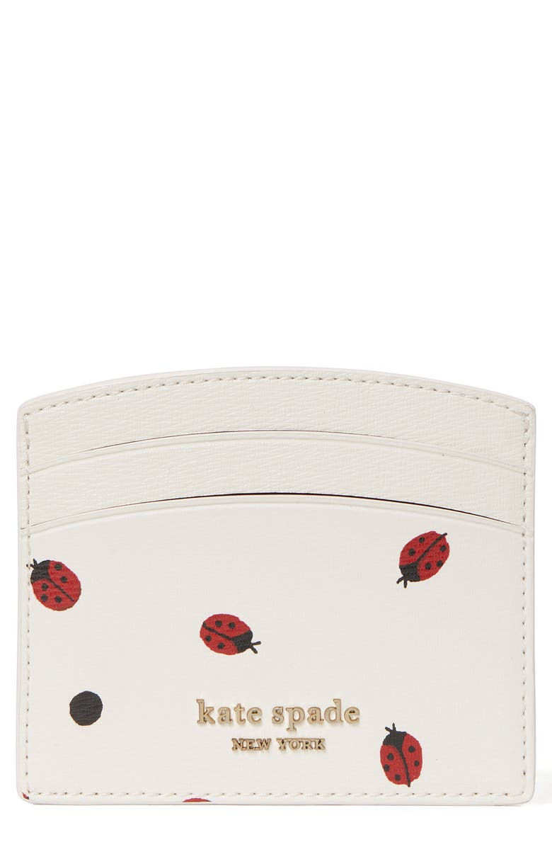 KATE SPADE NEW YORK ladybug dots faux leather card case, Main, color, MULTI