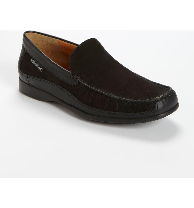 MEPHISTO 'Baduard' Loafer, Main, color, BLACK NUBUCK/ BLACK