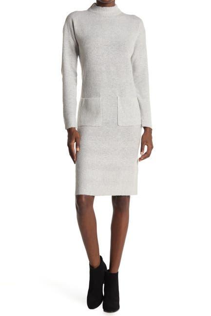 Image of Cloth By Design Mock Neck Patch Pocket Sweater Dress