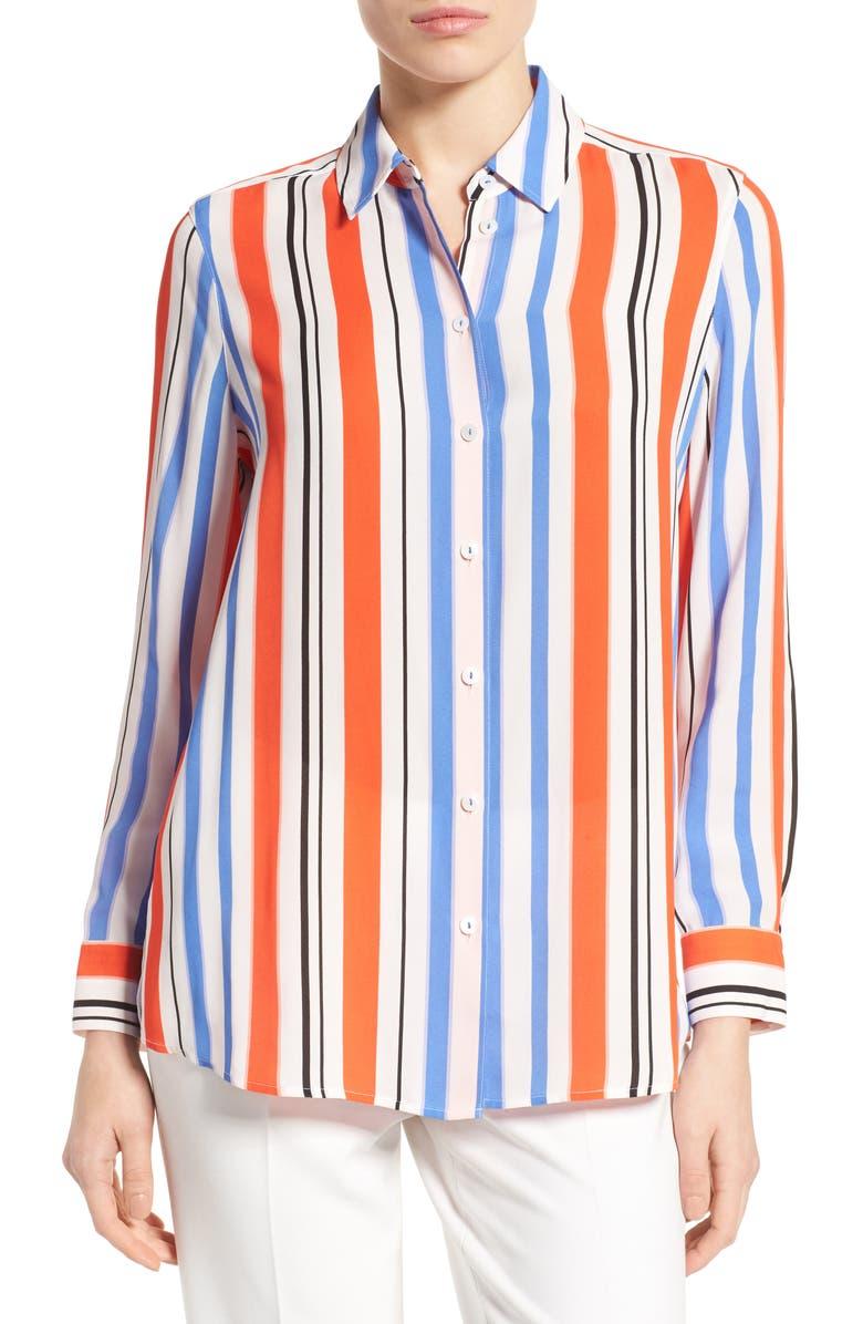 FOXCROFT Stripe Crepe Blouse, Main, color, 482