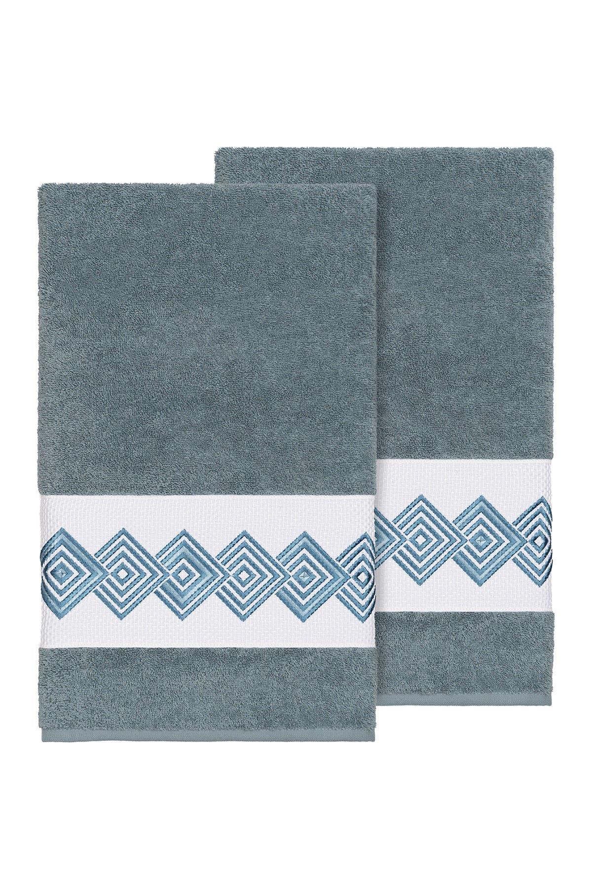 Image of LINUM HOME Noah Embellished Bath Towel - Set of 2 - Teal