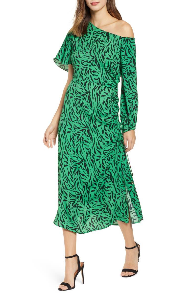 AFRM One-Shoulder Printed Midi Dress, Main, color, 399