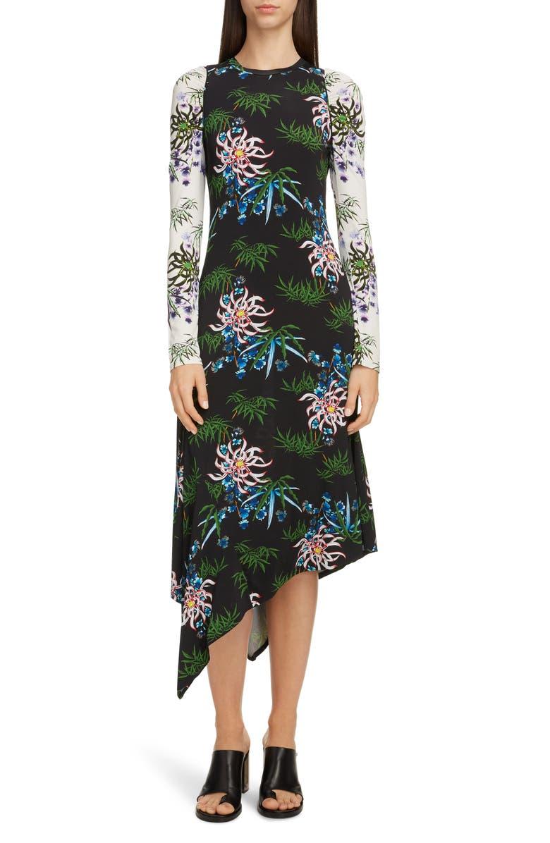 KENZO Long Sleeve Asymmetrical Dress, Main, color, BLACK