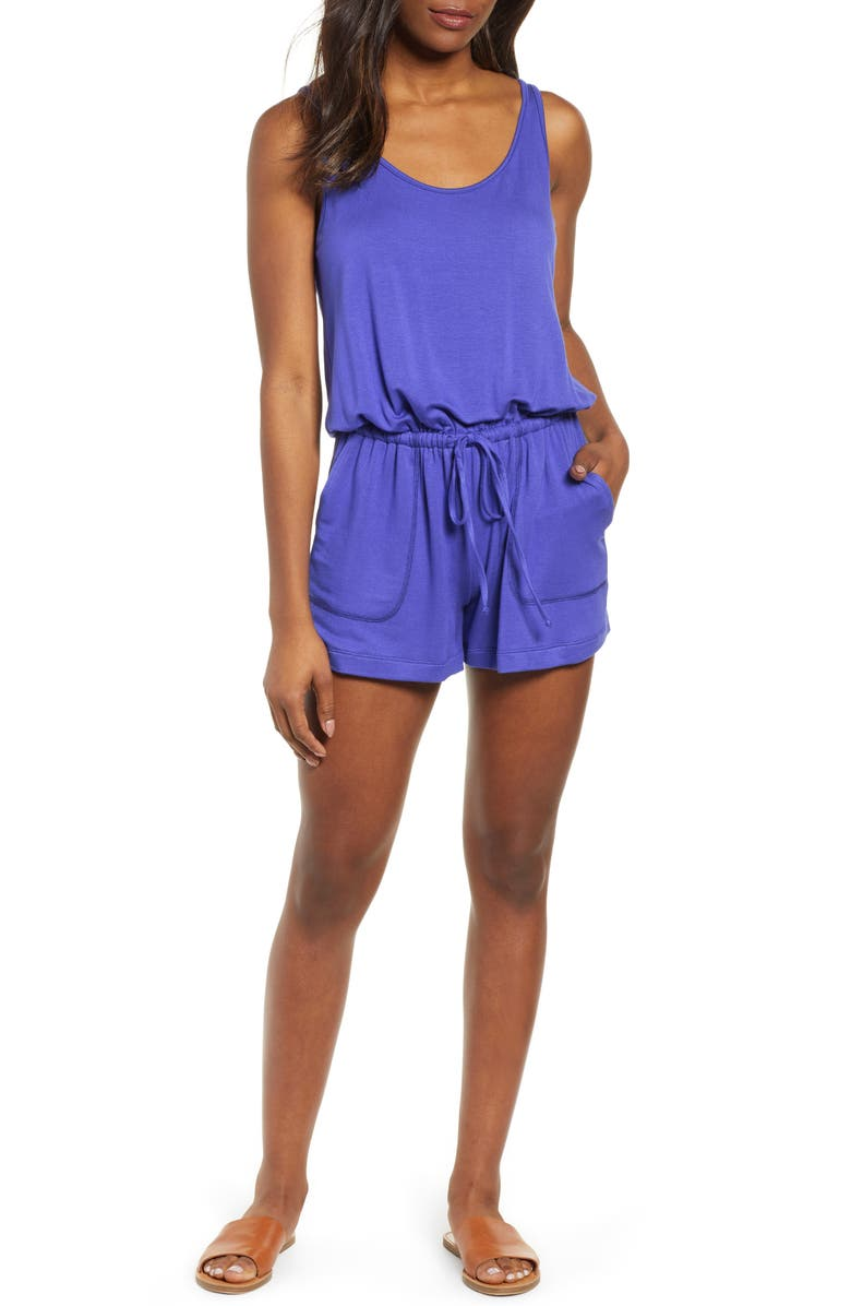 GIBSON x Hi Sugarplum! Seaside Soft Jersey Lounge Romper, Main, color, SANTORINI BLUE
