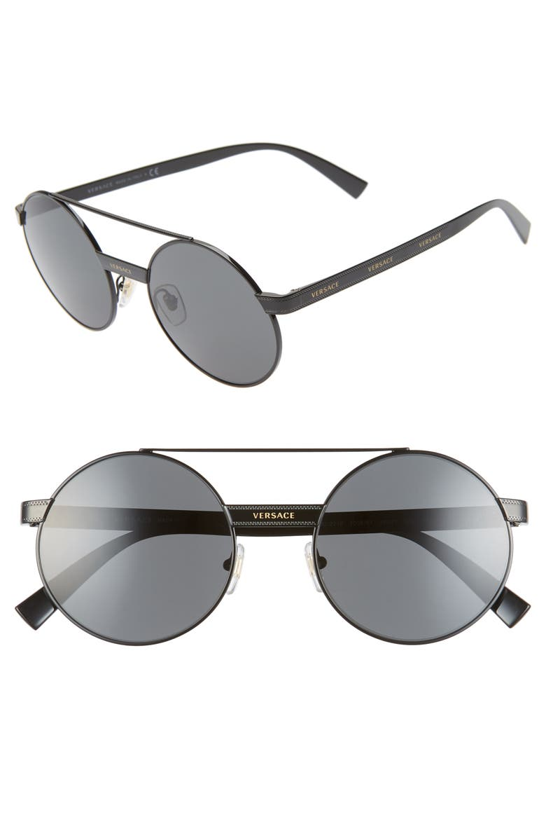VERSACE 52mm Mirrored Round Sunglasses, Main, color, BLACK/ GOLD/ BLACK SOLID
