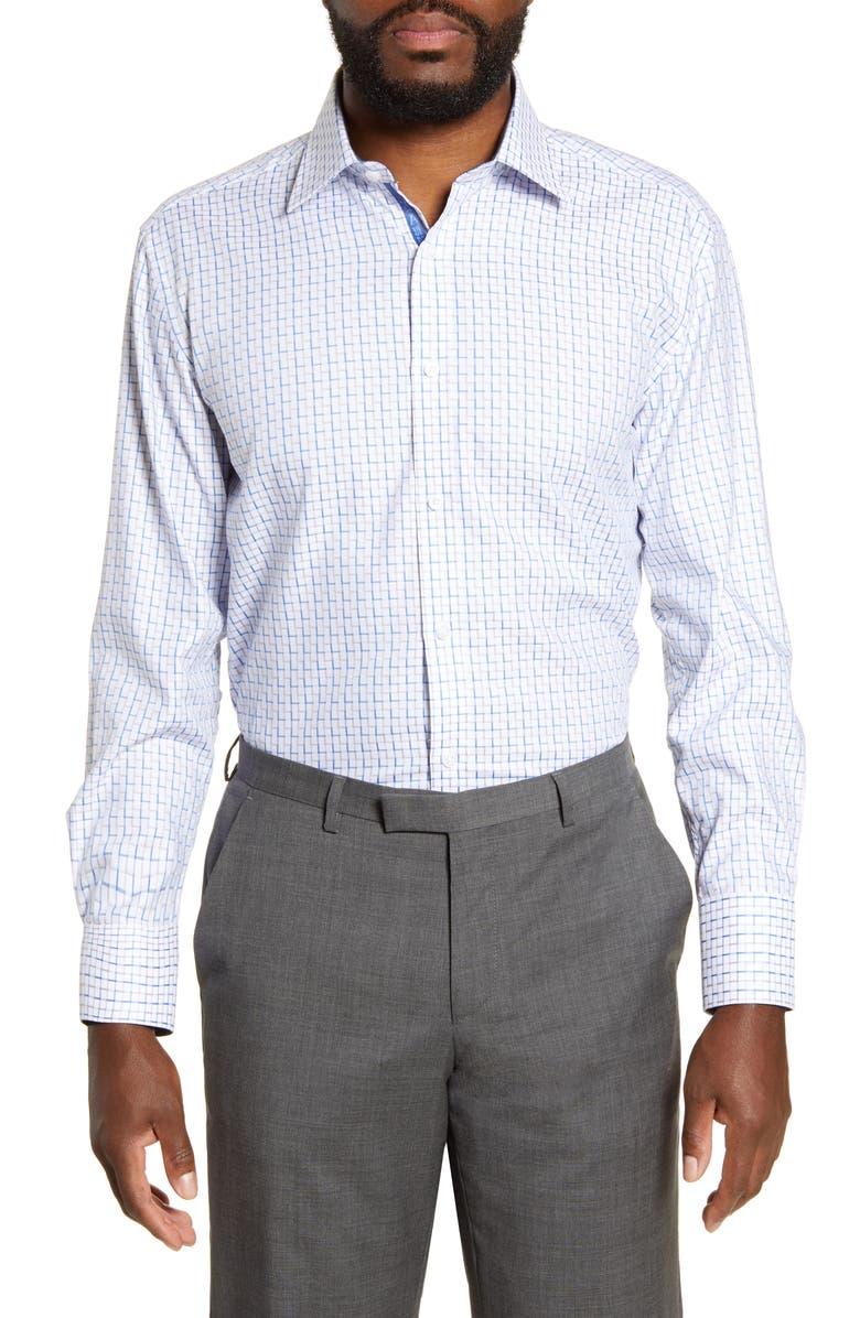 ENGLISH LAUNDRY Regular Fit Geometric Dress Shirt, Main, color, TEAL