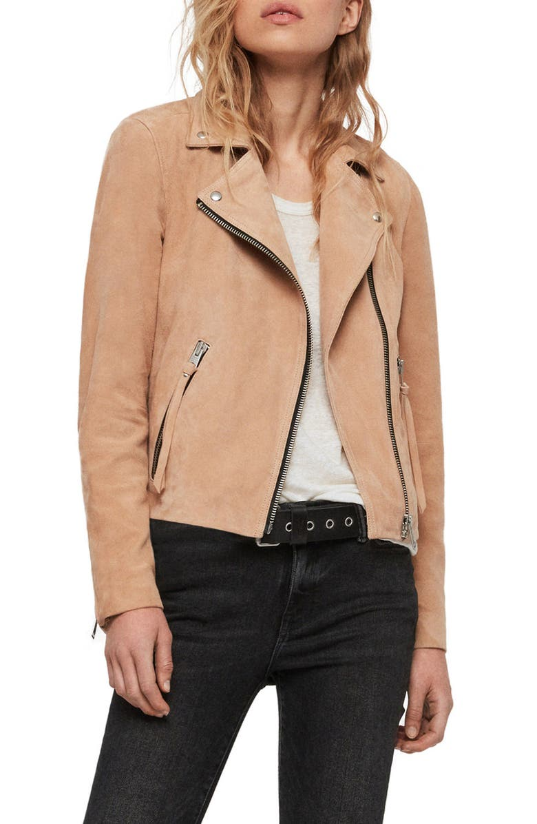 ALLSAINTS Dalby Suede Biker Jacket, Main, color, HONEY BROWN