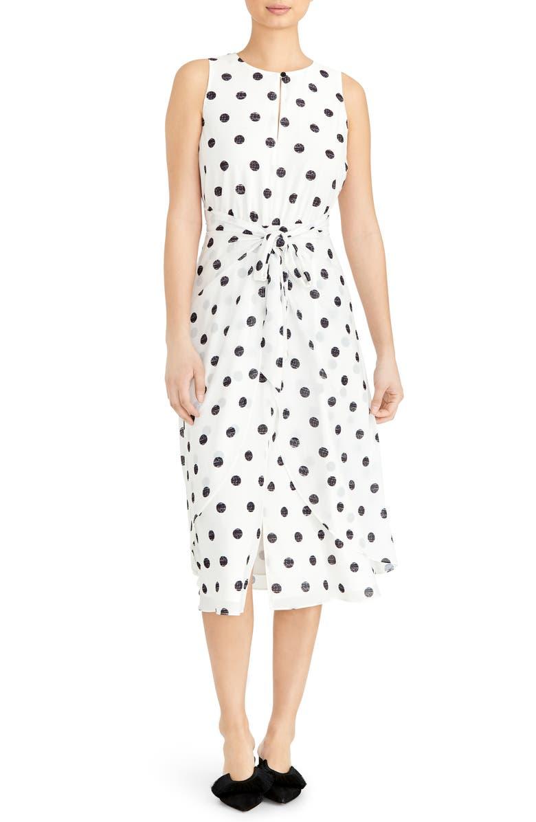 RACHEL ROY COLLECTION Polka Dot Sleeveless Midi Dress, Main, color, NATURAL COMBO