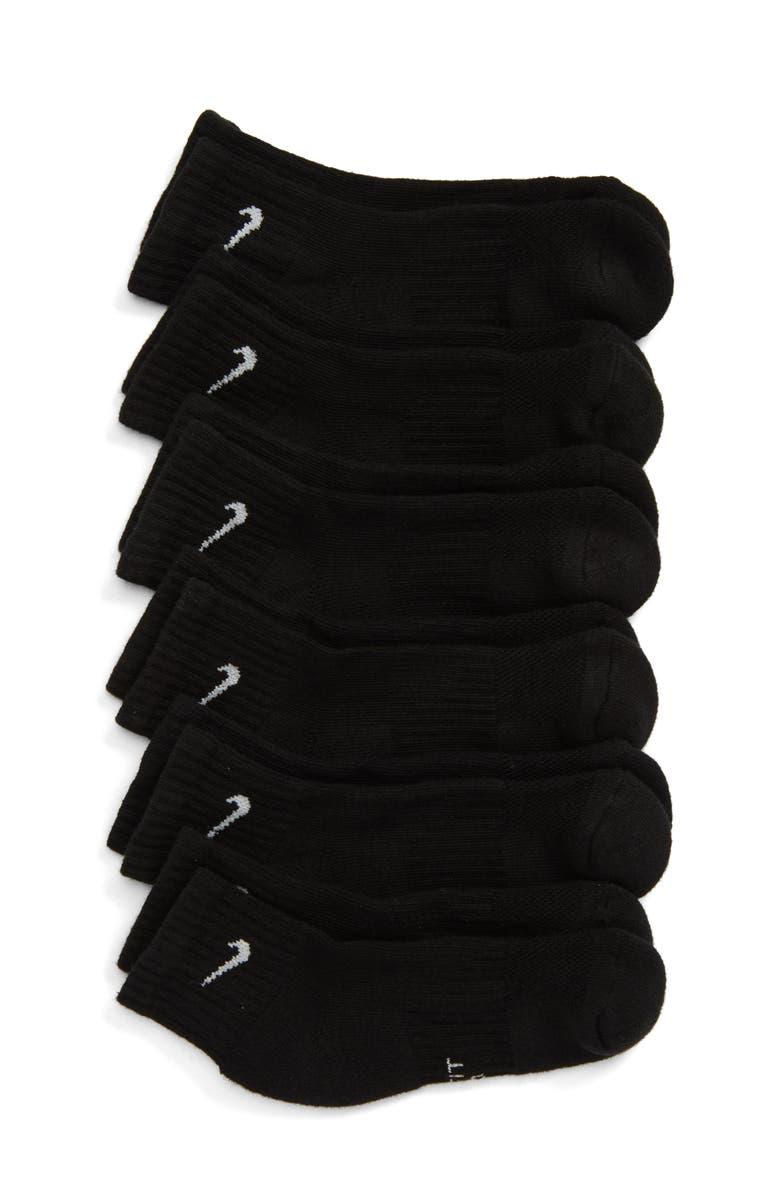 NIKE 6-Pack Everyday Cush Ankle Socks, Main, color, BLACK/ WHITE