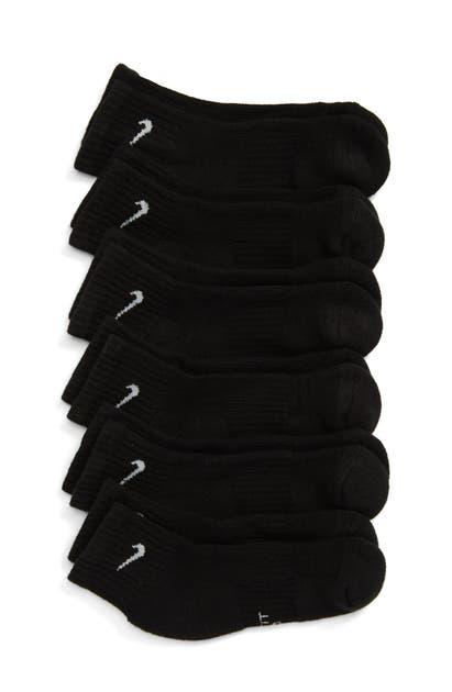 Nike Everyday Kids' Cushioned Ankle Socks In Black/ White