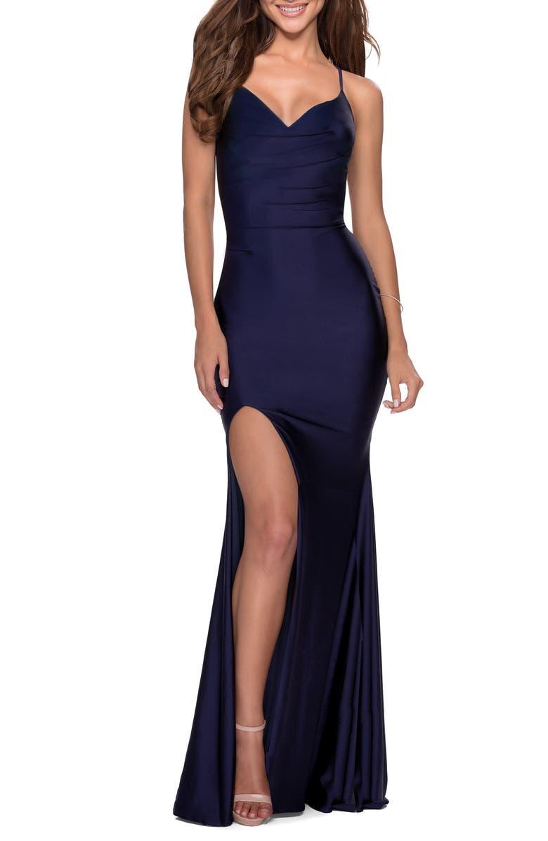 LA FEMME Jersey Column Gown, Main, color, NAVY