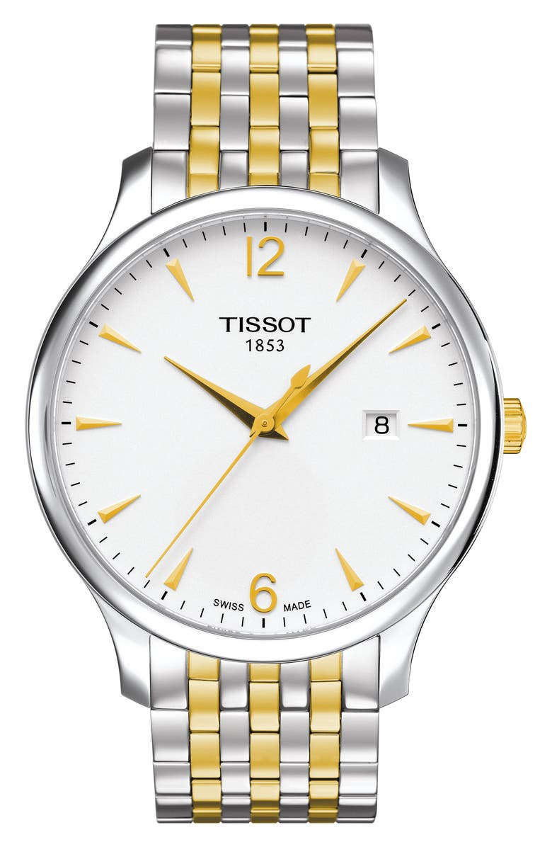TISSOT Tradition Two-Tone Bracelet Watch, 42mm, Main, color, SILVER/ WHITE/ GOLD