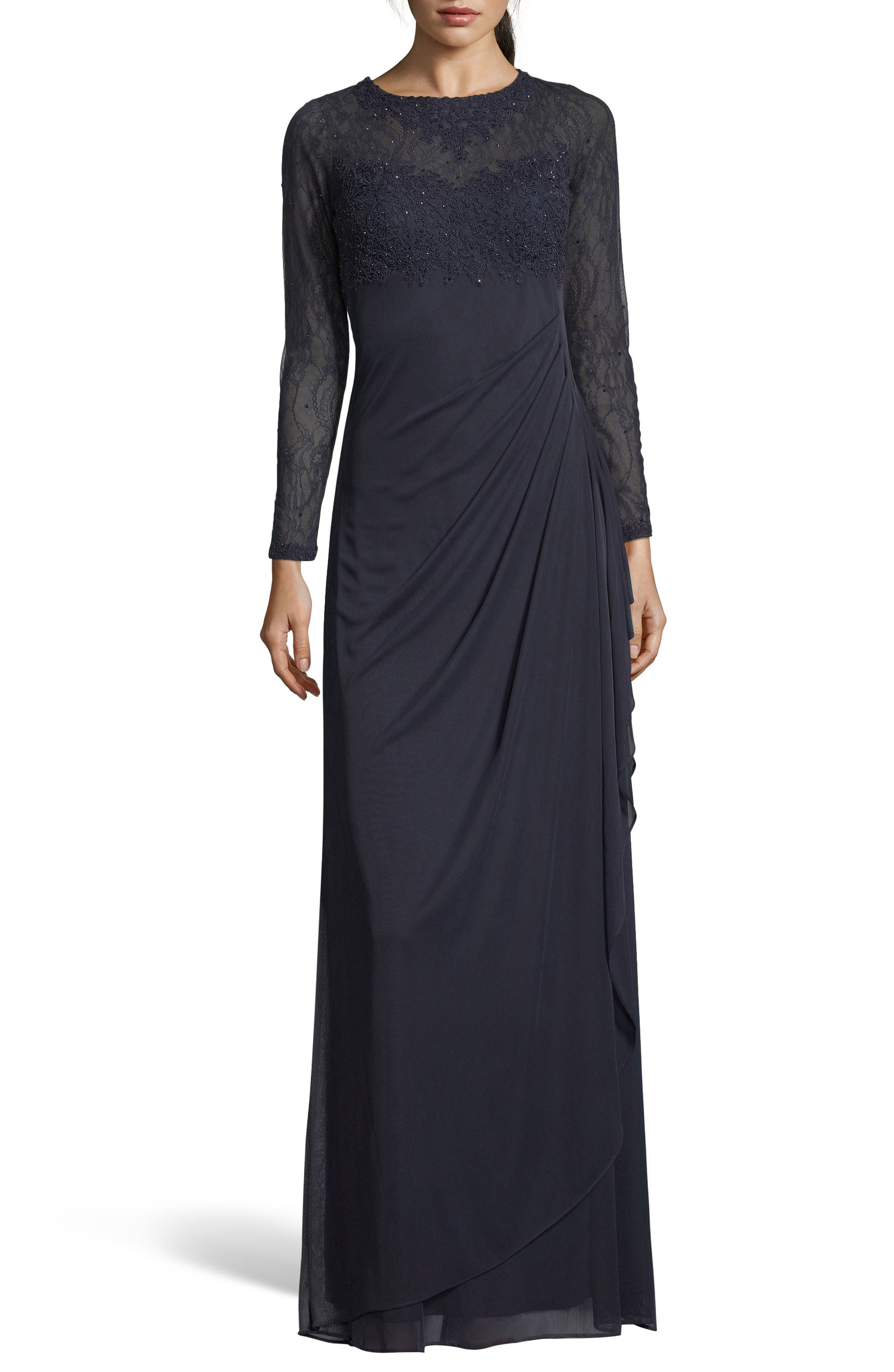 1940s Clothing Womens Xscape Lace Bodice Ruched Evening Dress $268.00 AT vintagedancer.com