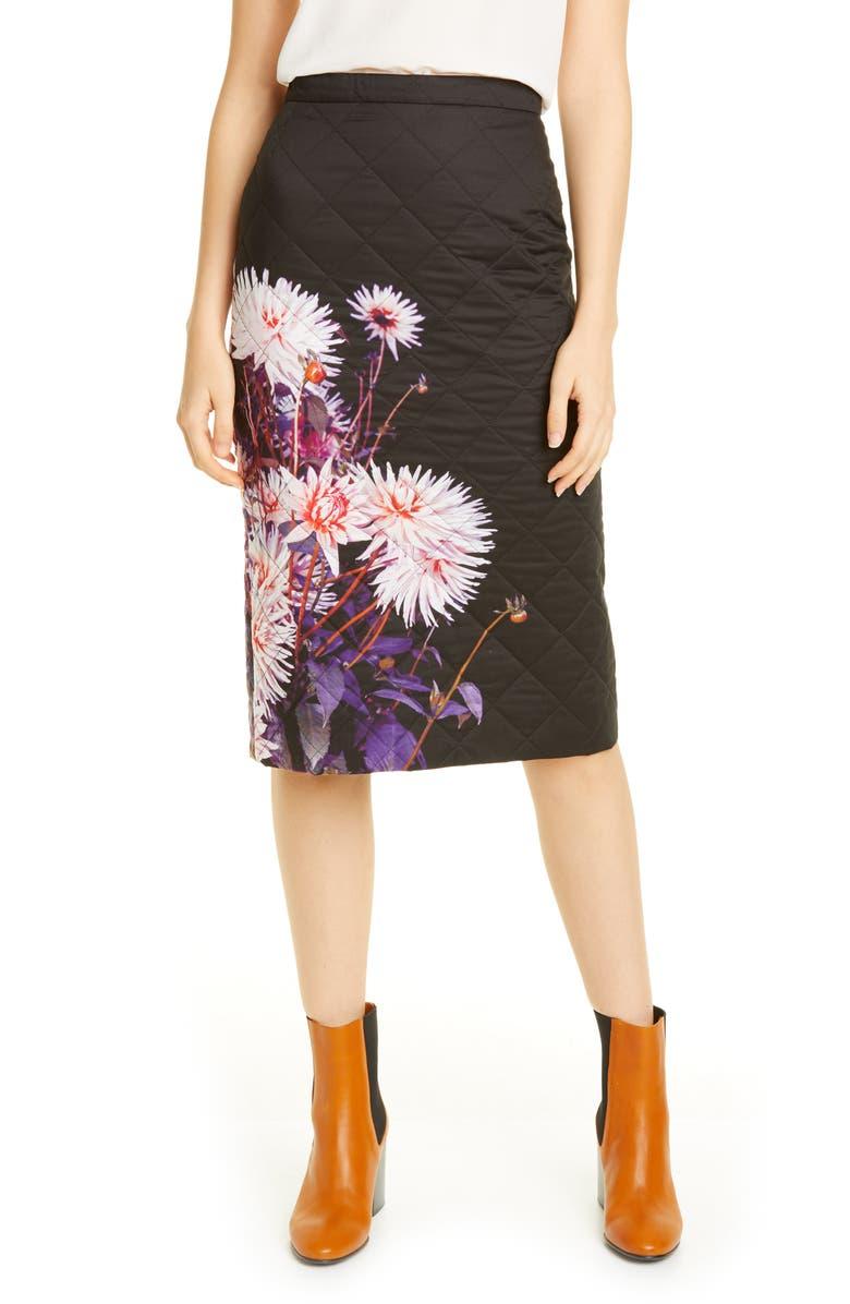 DRIES VAN NOTEN Santon Dahlia Print Quilted Skirt, Main, color, 650