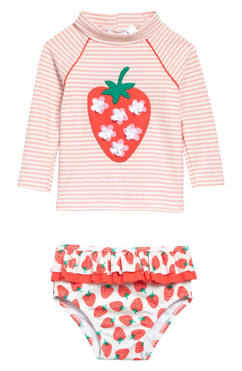 MINI BODEN Strawberries & Stripes Two-Piece Rashguard Swimsuit, Main, color, IVORY/ PINK STRAWBERRY