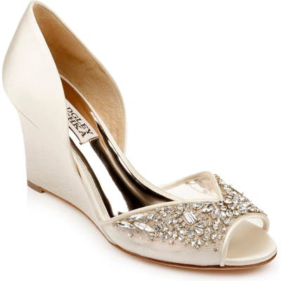 Badgley Mischka Cashmere Crystal Embellished Wedge, Ivory