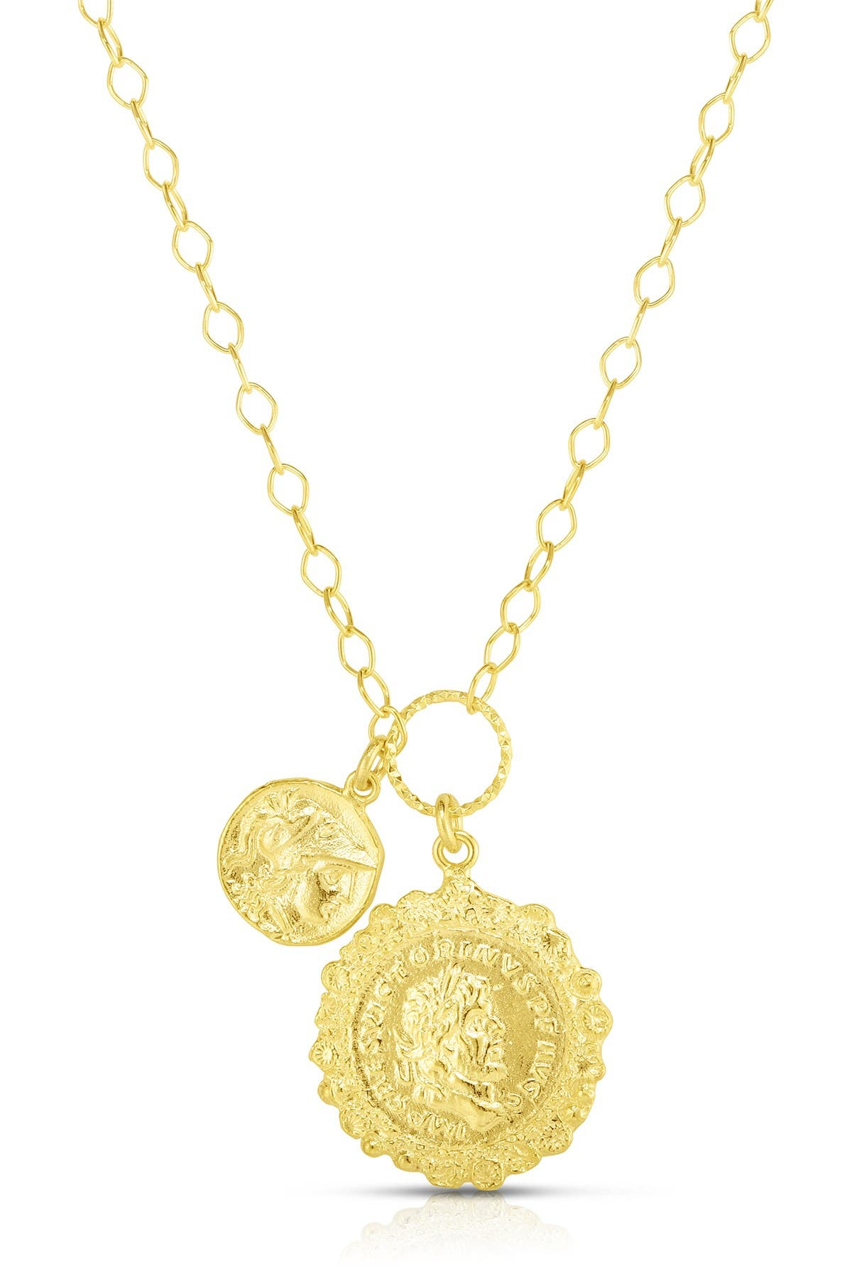 Image of Sphera Milano 14K Yellow Gold Plated Sterling Silver Double Coin Charm Necklace