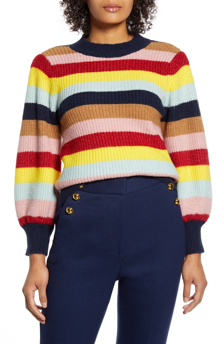 HALOGEN<SUP>®</SUP> x Atlantic-Pacific Blouson Sleeve Sweater, Main, color, NAVY MUTLI STRIPE