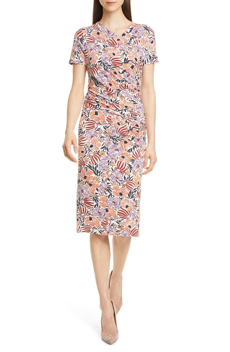 BOSS Erykah Print Faux Wrap Sheath Dress, Main, color, OPEN MISCELLANEOUS