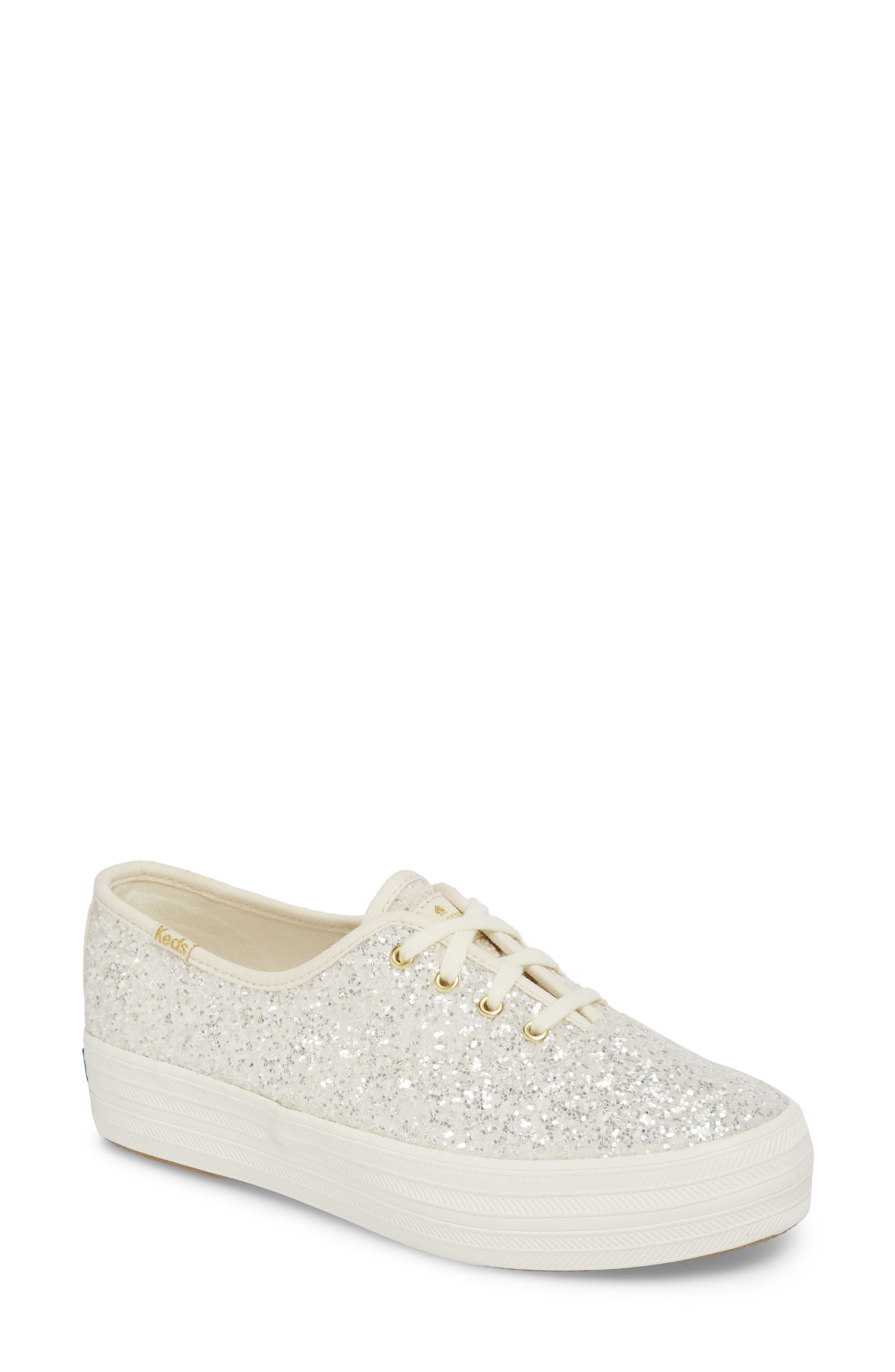 a330f13378850 Keds For Kate Spade New York Triple Decker Glitter Sneaker, Ivory