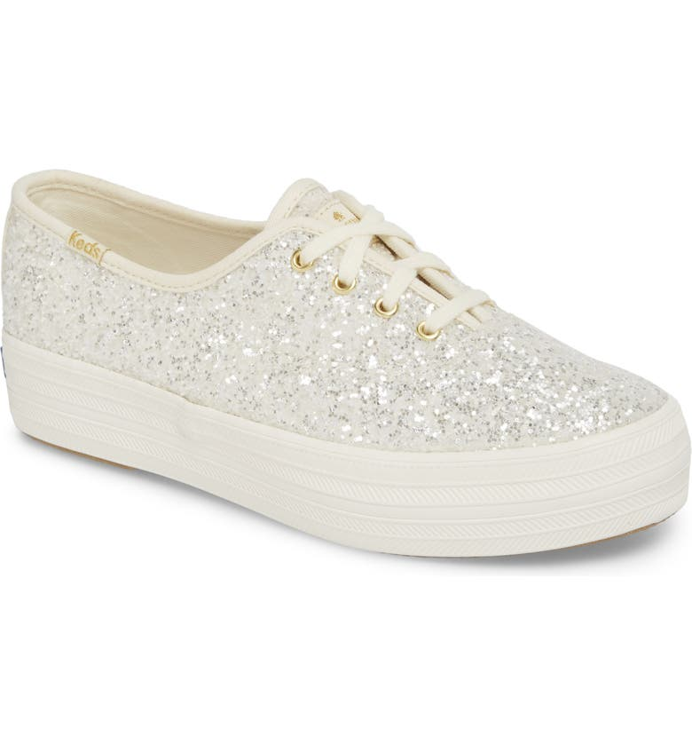 KEDS<SUP>®</SUP> FOR KATE SPADE NEW YORK triple decker glitter sneaker, Main, color, CREAM