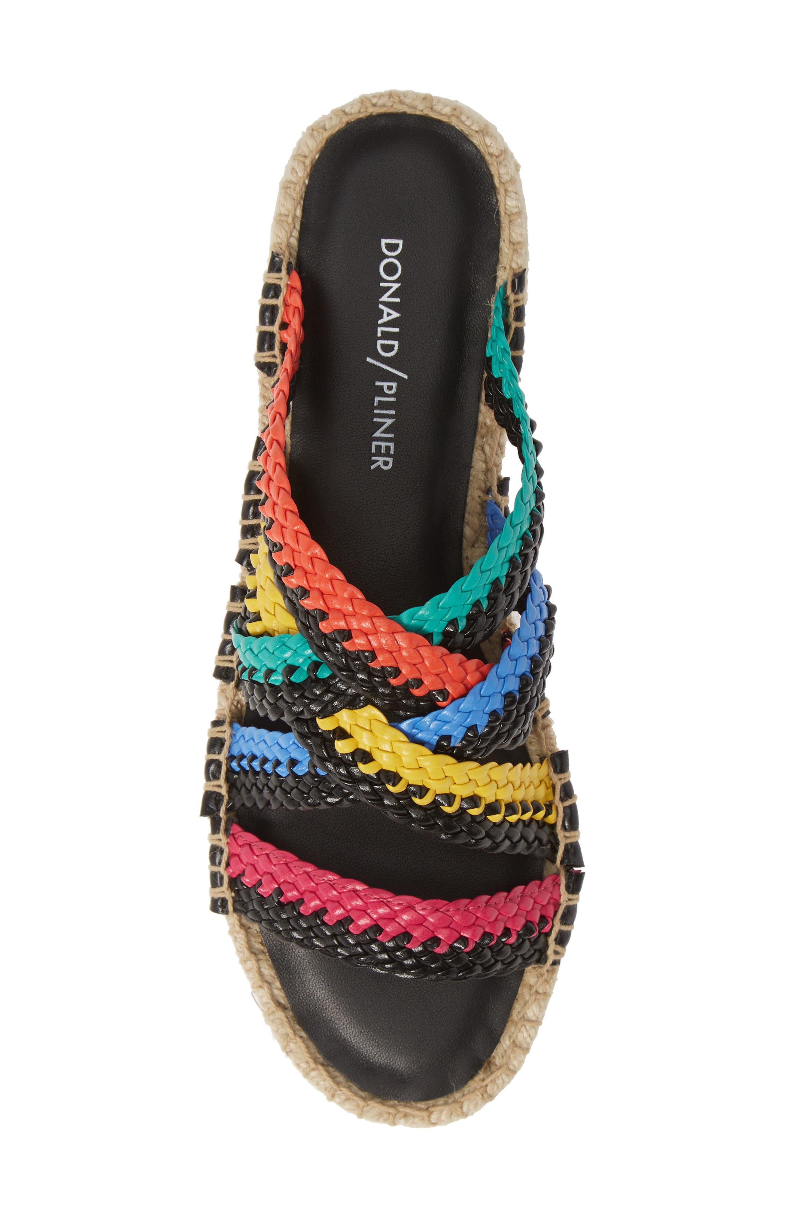 ,                             Rhonda Woven Espadrille Slide Sandal,                             Alternate thumbnail 5, color,                             BLACK MULTI LEATHER