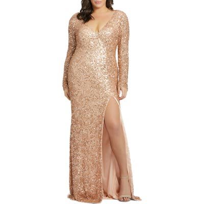 Plus Size MAC Duggal Long Sleeve Sequin Slit Dress, Pink