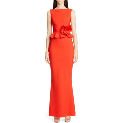 Chiara Boni La Petite Robe Side Ruffle Evening Dress, 50 IT - Red