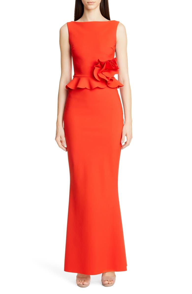 CHIARA BONI LA PETITE ROBE Side Ruffle Evening Dress, Main, color, PEPPERONCINO